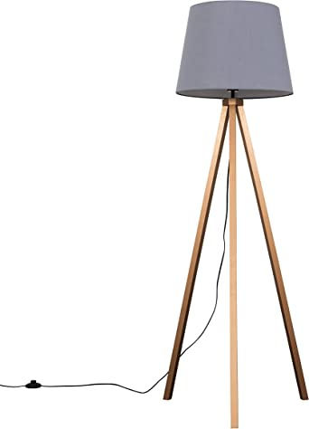 Modern Copper Wood Tripod Design Floor Lamp with a Grey Tapered Shade