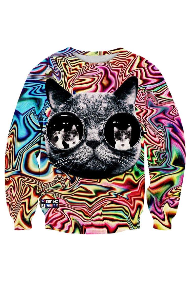 Cutiefox Cats Shell Printing Round Neck Sweater Sweatshirt Sunglasses Cat Size S