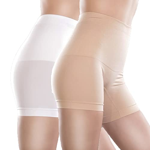 Libella - Pantalón moldeador - Básico - para mujer 2er Pack (Haut+Weiß) XX-Large