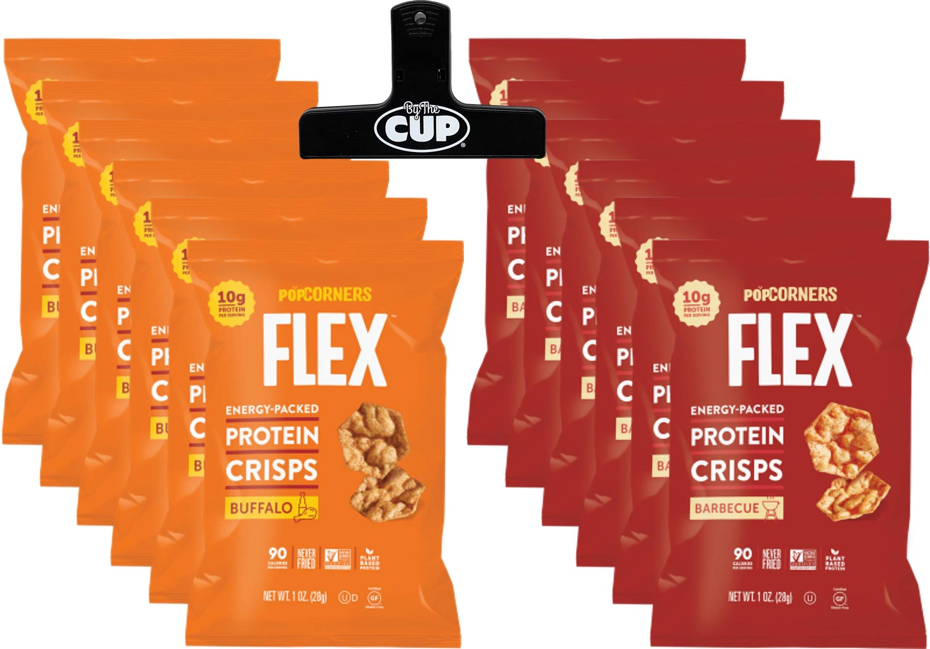 PopCorners Flex Popped Protein Crisps Snack Variety Pack, 6 of Each Buffalo and barbecue Flavored 1.0 Ounce Bags (12 Count) with By The Cup Chip Clip by By The Cup