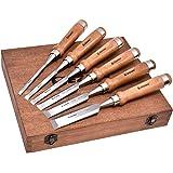 EZARC 6 st trämejselset för träbearbetning – CRV stål med valnöthandtag i presentationslåda i trä