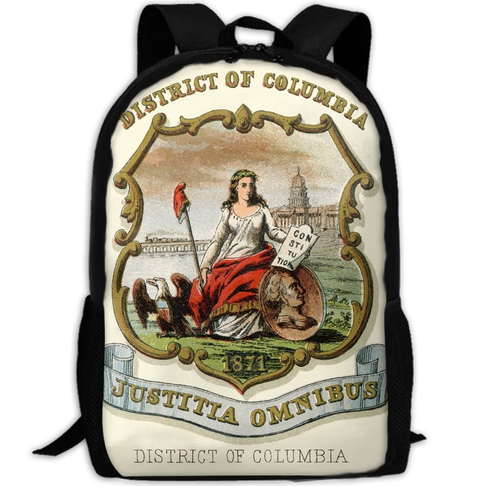 ZQBAAD District Of Columbia Coat Of Arms Luxury Print Men And Women's Travel Knapsack