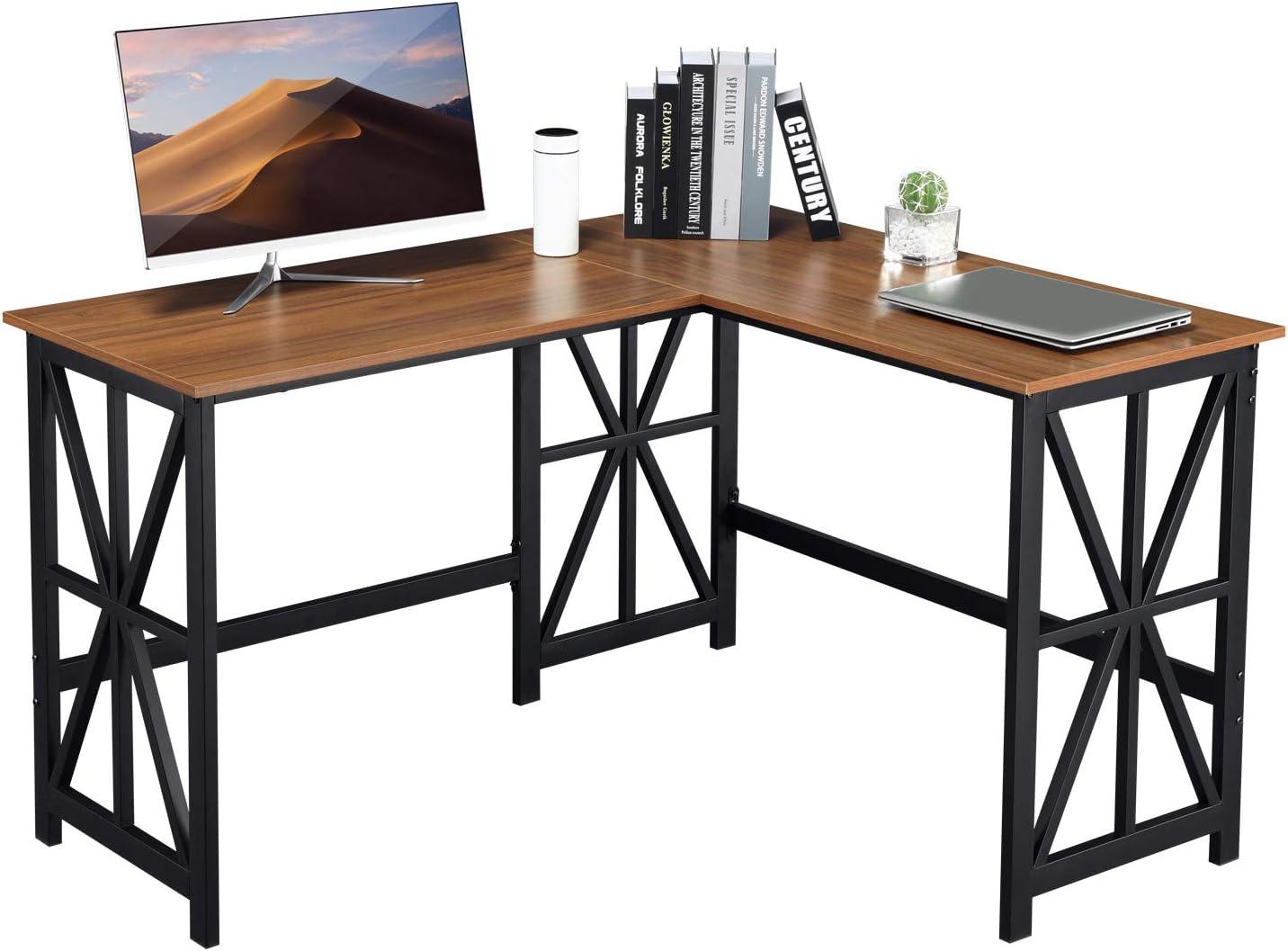 "GreenForest L Shaped Corner Desk 50.4"" Industrial Style Reversible Computer Gaming Desk PC Laptop Workstation for Home Office, Walnut"