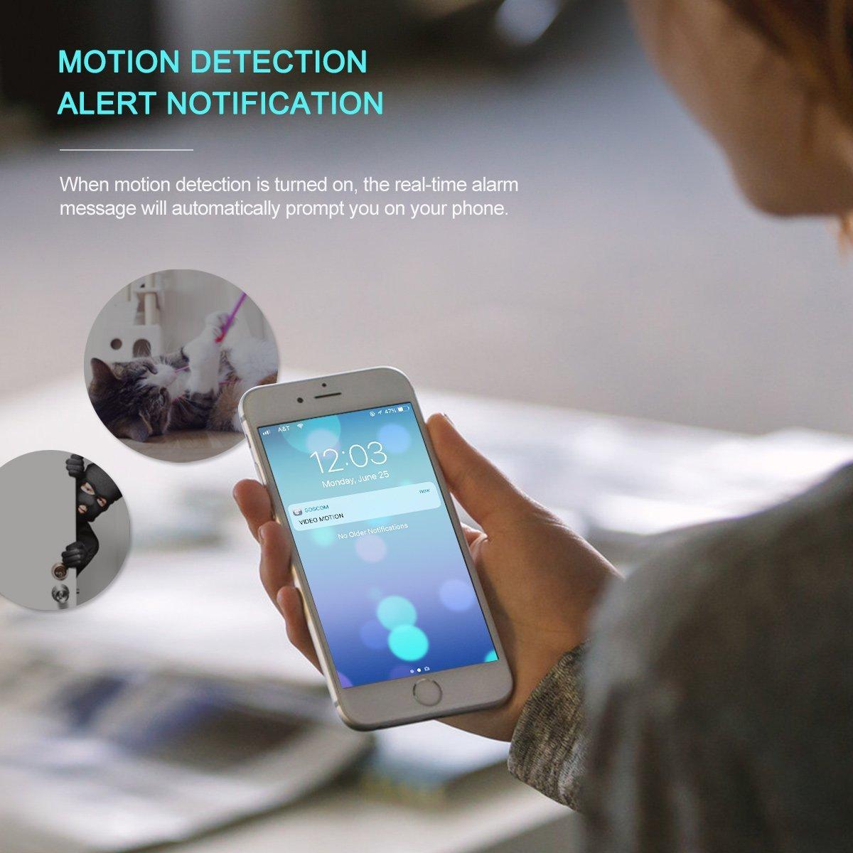 UNIOJO 360° Smart Home Indoor Security Camera 1080P IP Camera WiFi Wireless  Security Surveillance System Work with Alexa