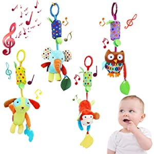 Baby Toys Hanging Rattle Crinkle Squeaky Educational Toy Infant Newborn Stroller Car Seat Crib Travel Activity Plush Animal Wind Chime with Teether for Boys Girls (4 Pieces)