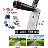 Ceuta Retails Plastic & Silicon Mobile Telescope Lens kit with 12x zoom DSLR Blur background effect HD Pictures for Android Devices (Black)