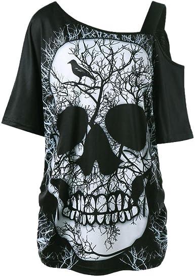 Camiseta Hombro Caido Atractivo Mujer LHWY, Blusa con Estampado Manga Corto Tops Suelto Tallas Grandes Verano: Amazon.es: Ropa y accesorios