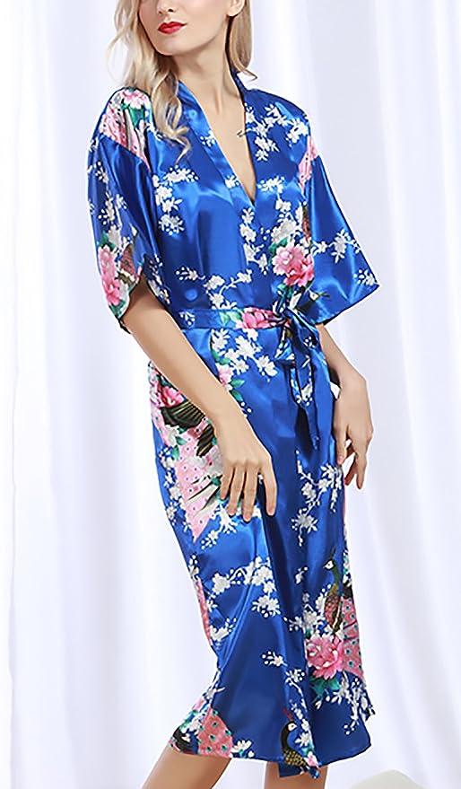 Batas Mujer Tallas Grandes Elegante Mangas 3/4 V Cuello Impresión Floral Baño Albornozes Casual Moda Homewear Confort Ropa Dama Moda Fashionista Woman ...