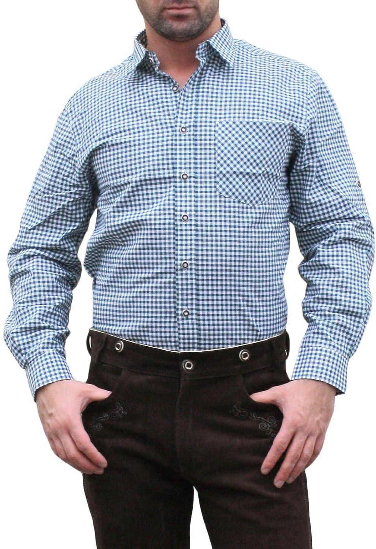 Trachtenhemd für Trachten Lederhosen mit Verzierung grün/kariert