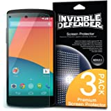 [HD CLARITY] Invisible Defender - Nexus 5 Screen Protector Premium HD Crystal Clear Film with [3 PACK/Lifetime Replacement Warranty] High Definition Clarity Film The World's Best Selling Premium EXTREME CLEAR Screen Protector for Google Nexus 5