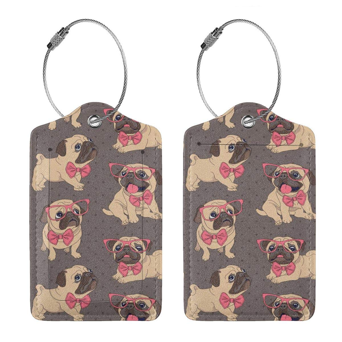 Dog Mom Luggage Tags With Full Back Privacy Cover W//Steel Loops