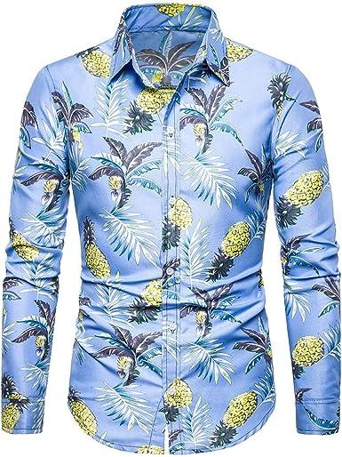 ACEBABY Camisas Hombre Manga Larga Moda Estampado de Frutas ...
