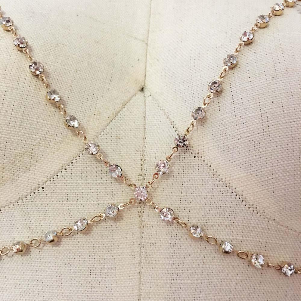 Amazon.com  Rhinestone choker bralette body chain bra (GOLD)  Jewelry