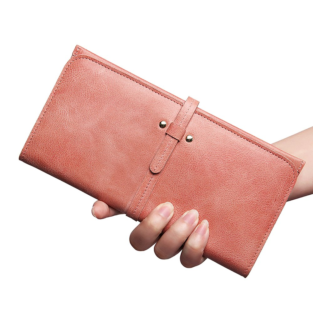 ZOOLER GLOBAL Women's Genuine Leather Clutch Wallets Wristlet Organizer Purse with Large Space Card Hold