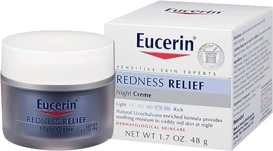 Eucerin Redness Relief Night Creme - Gently Hydrates To Reduce Redness-Prone Skin At Night - 1.7 oz Jar
