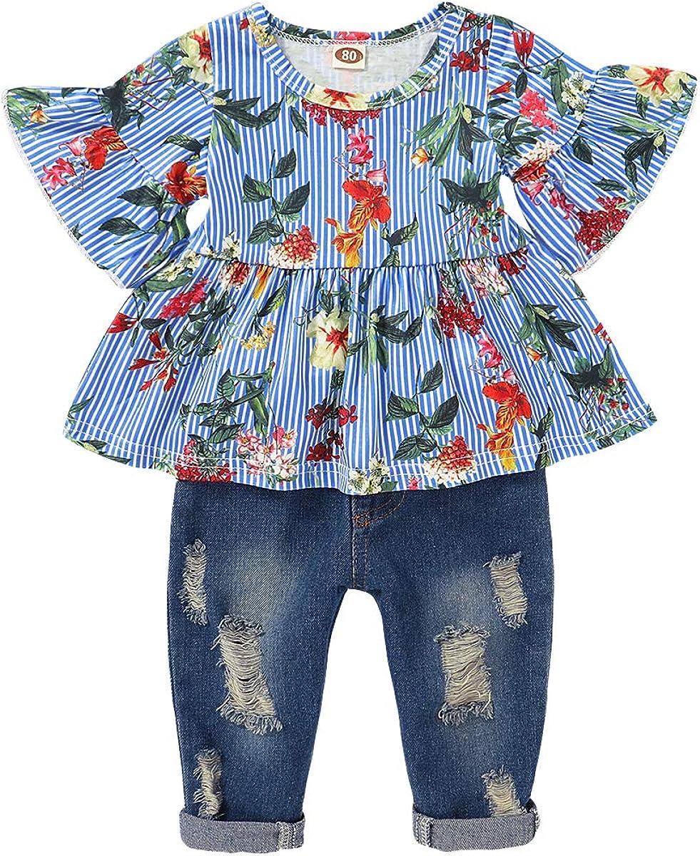 Blue Floral Girls Dress Bottom Frill Long Sleeve