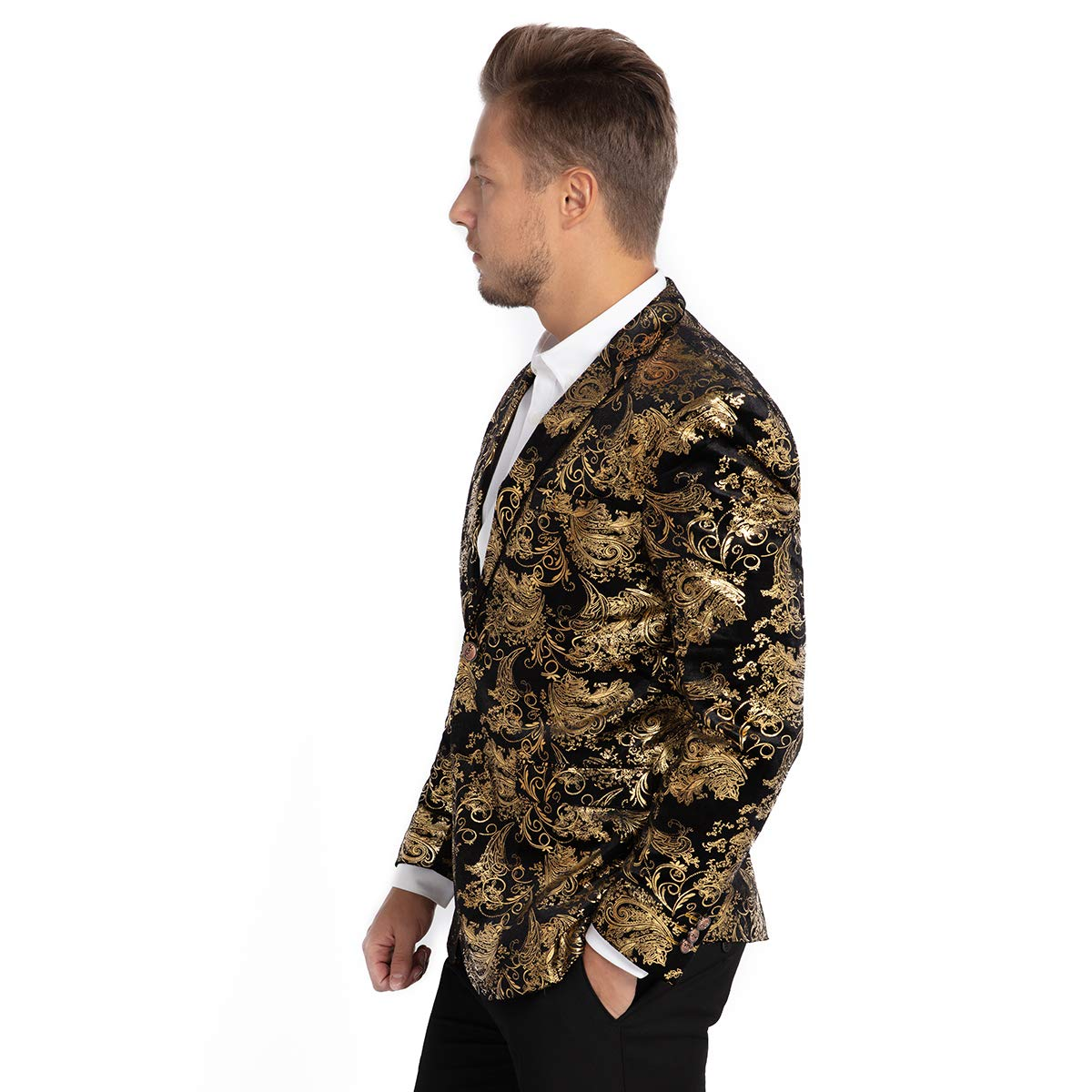 WEEN CHARM Mens Designer Floral Printed Single Breasted Two Button Modern Fit Tux Blazer Jacket Coat XXL, Gold