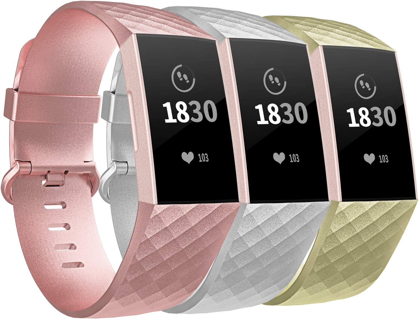 3 Mallas para Fitbit Charge 3 y Fitbit Charge 3 SE talle S