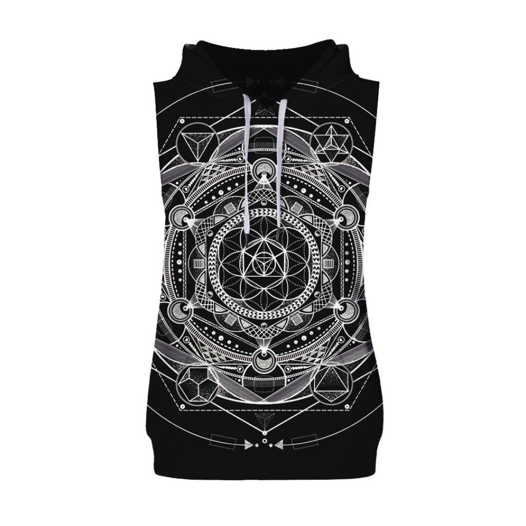 Clearance Sale! Wintialy Men's Causal Fashion 3D Print Hoodie Sleeveless Singlet T-Shirt Top Vest Tank