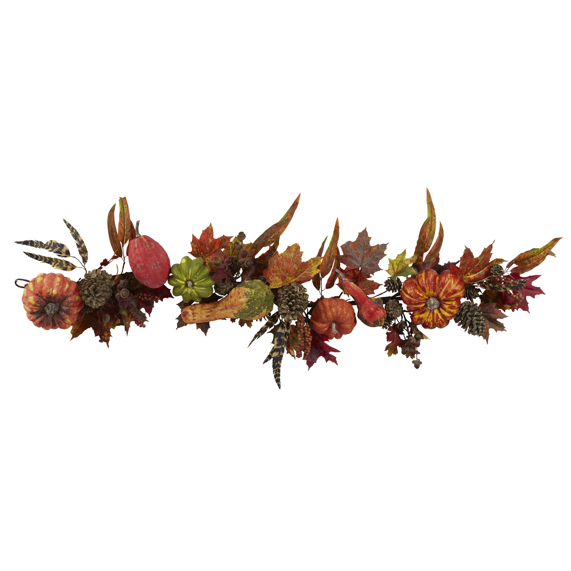 Nearly Natural 4938 Pumpkin and Gourd Garland, 54-Inch, Red/Green