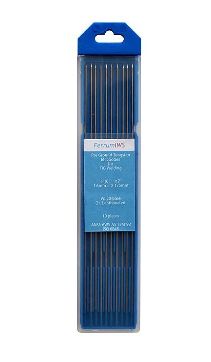 FerrumIWS 2% Lantano TIG Electrodos de Tungsteno, WL20 (azul) 1.6mm x