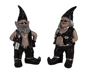 Zeckos Gnoschitt and Gnofun Thirsty Biker Gnomes Statue Motorcycle Leather 8 inch