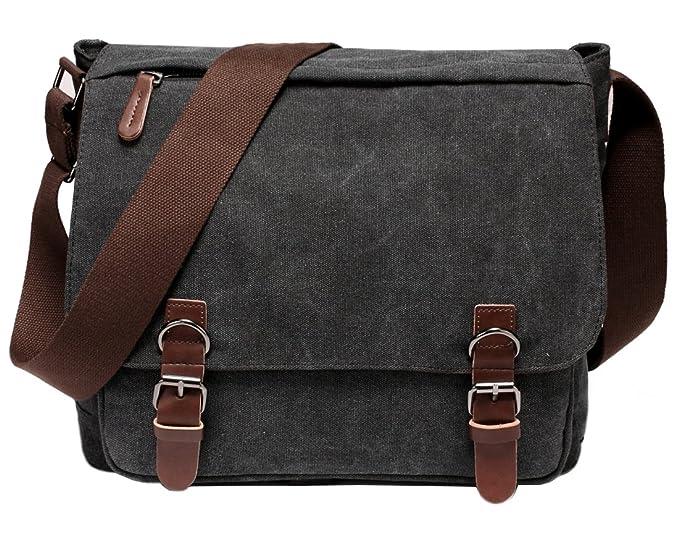 d771d89d24 Kenox Vintage Canvas Laptop Messenger Bag School Bag Business Briefcase 16  Inches