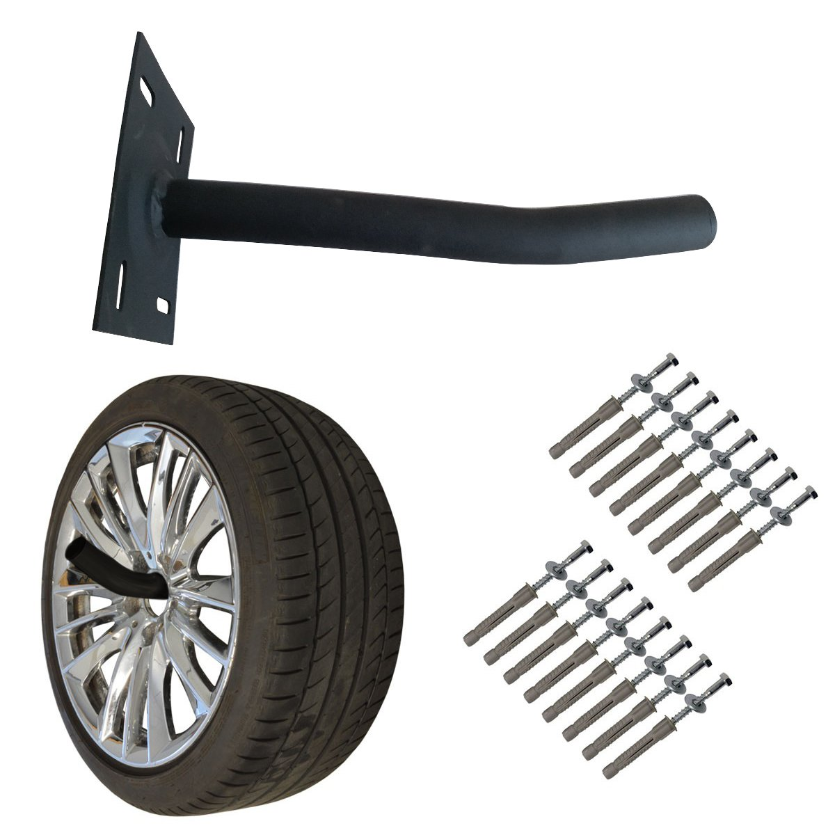 Wheel Hangers Set - Wall Mount Tire Rack Alternative - Space Saving Wheel Storage for Garage Shed, 4 Pack DCP Resources TIRERACKL14