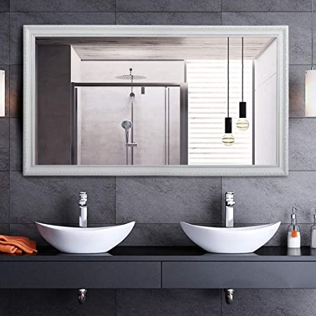 Amazon.com: JN Wall-Mounted Bathroom Mirror, Chic Modern ...