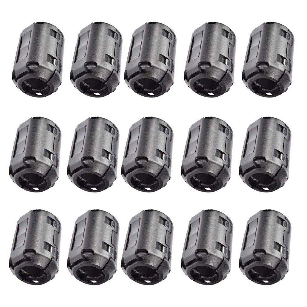 Caisheng 15 Pcs Magnetic Ferrite Cores EMI RFI Noise Filter Clip for 13mm Diameter-Black