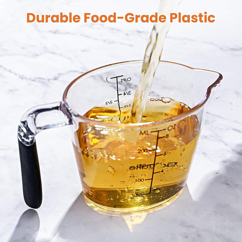 Medidas F/áciles de Leer Taza Medidora Transparente para Cocinar Hornear SAWAKE Vaso Medidor 1 litro + 500 ml + 250 ml Juego de Jarras Medidora Plastico de 3 Piezas Cocinar con Precisi/ón