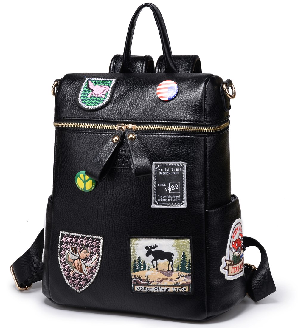 Women Backpack Purse Faux Leather Rucksack Bag for Ladies Small Convertible Bag Travel Handbag, Black by Kemy's (Image #3)