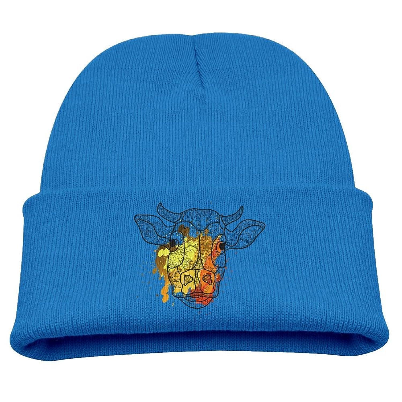 wholesale Hfdv Skull Caps Cow Graffiti Paint Children Girl Knit Beanie Ski Hat Winter Warm Wool Skull Caps save more