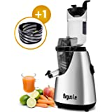 "Argus le Vertical Masticating Cold Press Juicer Wide Chute Anti-Oxidation Slow Masticating Juicer(Energy Saving 150W DC Motor, 32 RPMs, 3""inch wide mouth) … (Silver)"