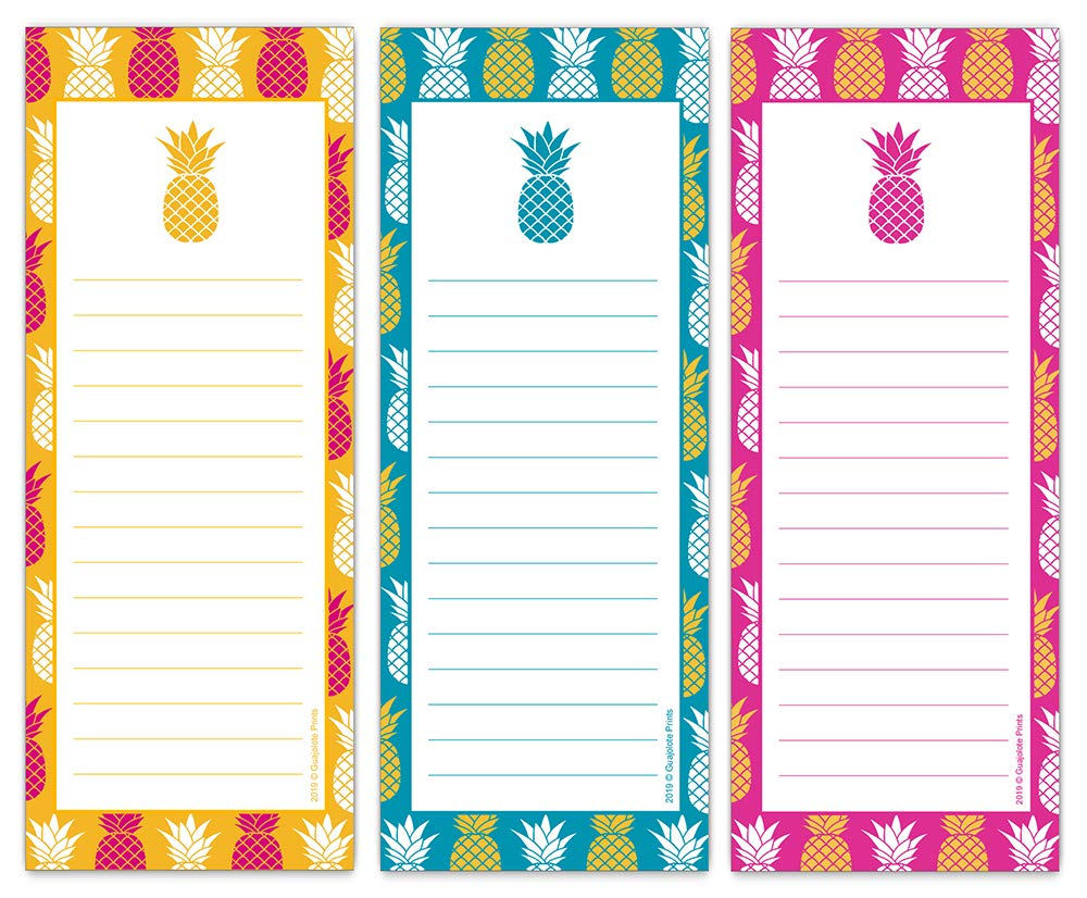 Guajolote Prints Magnetic Notepads for Refrigerator, Tropical Pineapple Designs, List Pad, Shopping Pads, 3-Pack, 3.5 x 9 Inches, 50 Sheets Per Notepad. by Guajolote Prints