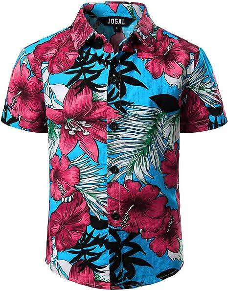 JOGAL Camisa Hawaiana de verano con botones y manga corta para niño grande: Amazon.es: Ropa y accesorios