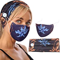 Myhozee 2pcs Face Protection Set - 1 Headband with Buttons + 1 Face Covering, Men & Women Headwrap for Yoga Sports…