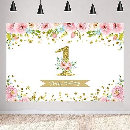 Mädchen 1 Geburtstag Floral Hintergrund Für Fotografie Kamera