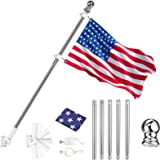 Lamberia 6FT Flag Pole Kit for House, 304 Stainless Steel Flagpole with Rotating Rings, Metal Bracket, American 3x5FT Nylon F