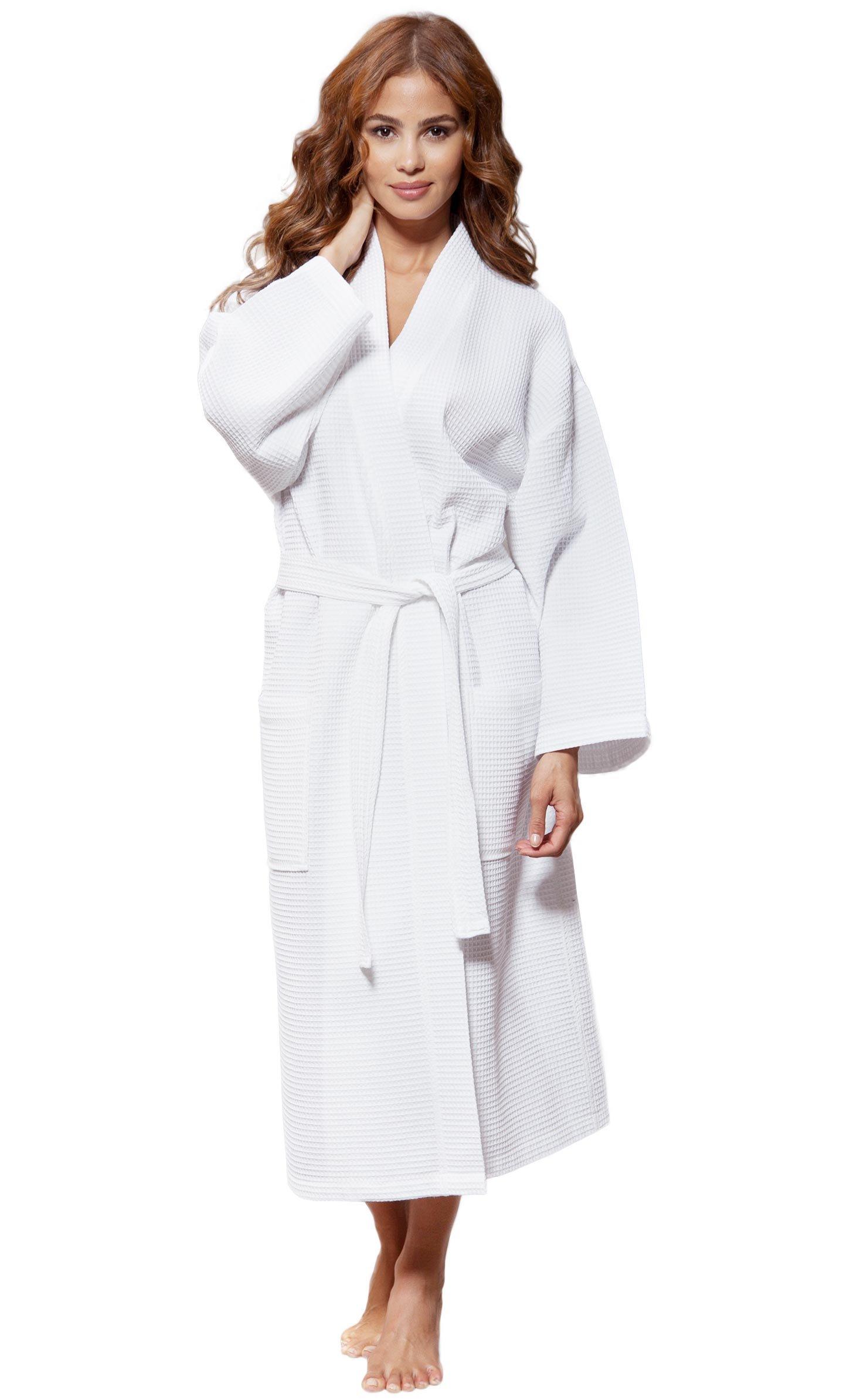 Turquaz Linen Lightweight Long Waffle Kimono Unisex Spa Robe (One Size, White)
