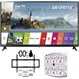 LG 55UJ6300 55-inch 4K Ultra HD Smart LED TV (2017 Model) w/ Wall Mount Bundle Includes, Slim Flat Wall Mount Ultimate Bundle Kit & SurgePro 6-Outlet Surge Adapter w/ Night Light