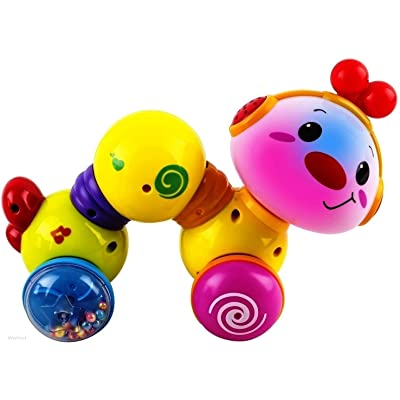 WolVol Musical Press and Crawl Baby Activity Toy - Rolling Rattle Worm w/ Lights & Music - Fine Motor Skills & Fun Learning Crawler for Babies & Kids - Safe and Tested Toy for Toddlers: Toys & Games