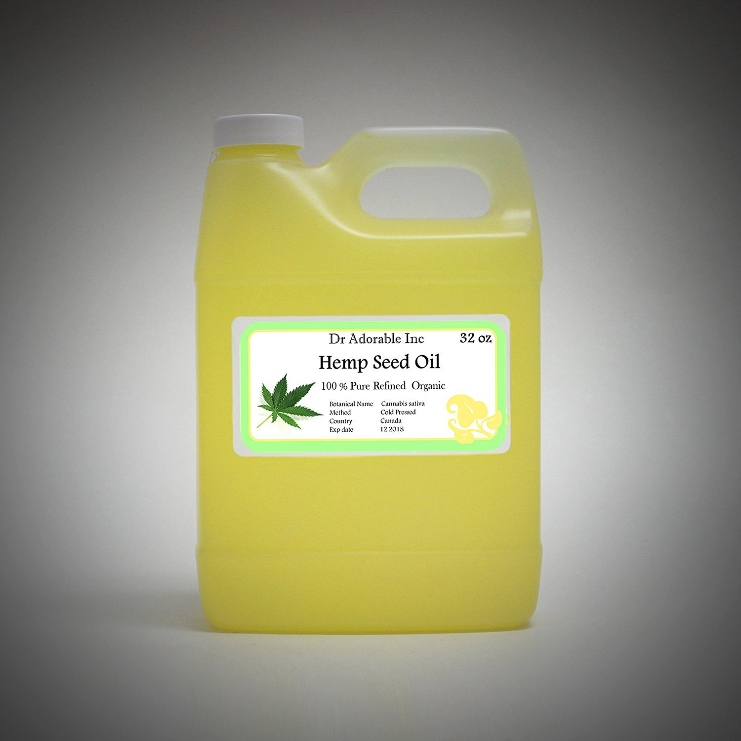 Hemp Seed Oil REFINED Pure Organic Cold Pressed by Dr.Adorable 32 OZ
