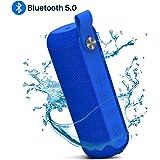 MentonEzil Bluetooth 5.0ポータブルスピーカー ブルートゥーススピーカー ワイヤレスIPX5防水 ビルドインマイク 大きなステレオサウンド 豊かなベースキャンプ スポーツ ビーチ プールパーティー シャワー バレンタインギフト(ブルー)