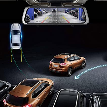 Starnearby - Cámara de visión trasera para coche con doble lente de 25,4 cm, Bluetooth, WiFi, Android, DVR, navegador GPS: Amazon.es: Coche y moto