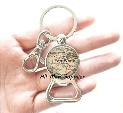 Amazon.com: Charming Bottle Opener Keychain,Ft. Worth, Texas map ...