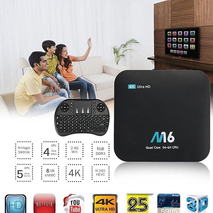 monque M16 Smart Ott® Android 7.1 TV Box, Android 7.1 S905X Quad Core 4K HDMI DLNA WiFi Mini Teclado: Amazon.es: Electrónica