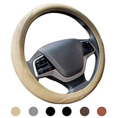 Ylife Microfiber Leather Car Steering Wheel Cover, Universal 15 inch Breathable Anti Slip Auto Steering Wheel Covers, Beige: Automotive