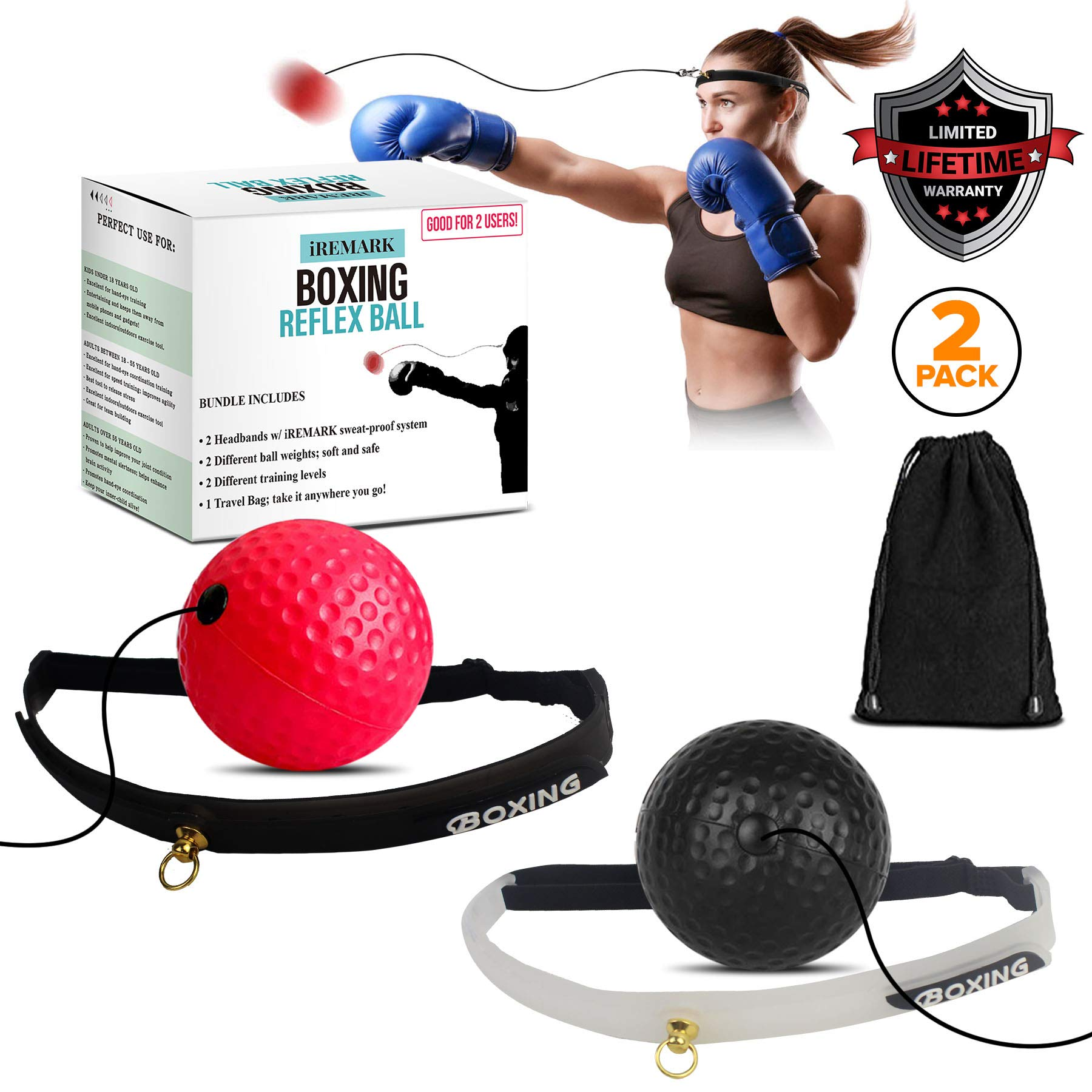 Boxing Reflex Ball (2 Sets) 2 Difficulty Level Balls on String with 2 Headbands For Speed Training, React Reflex Boxing…