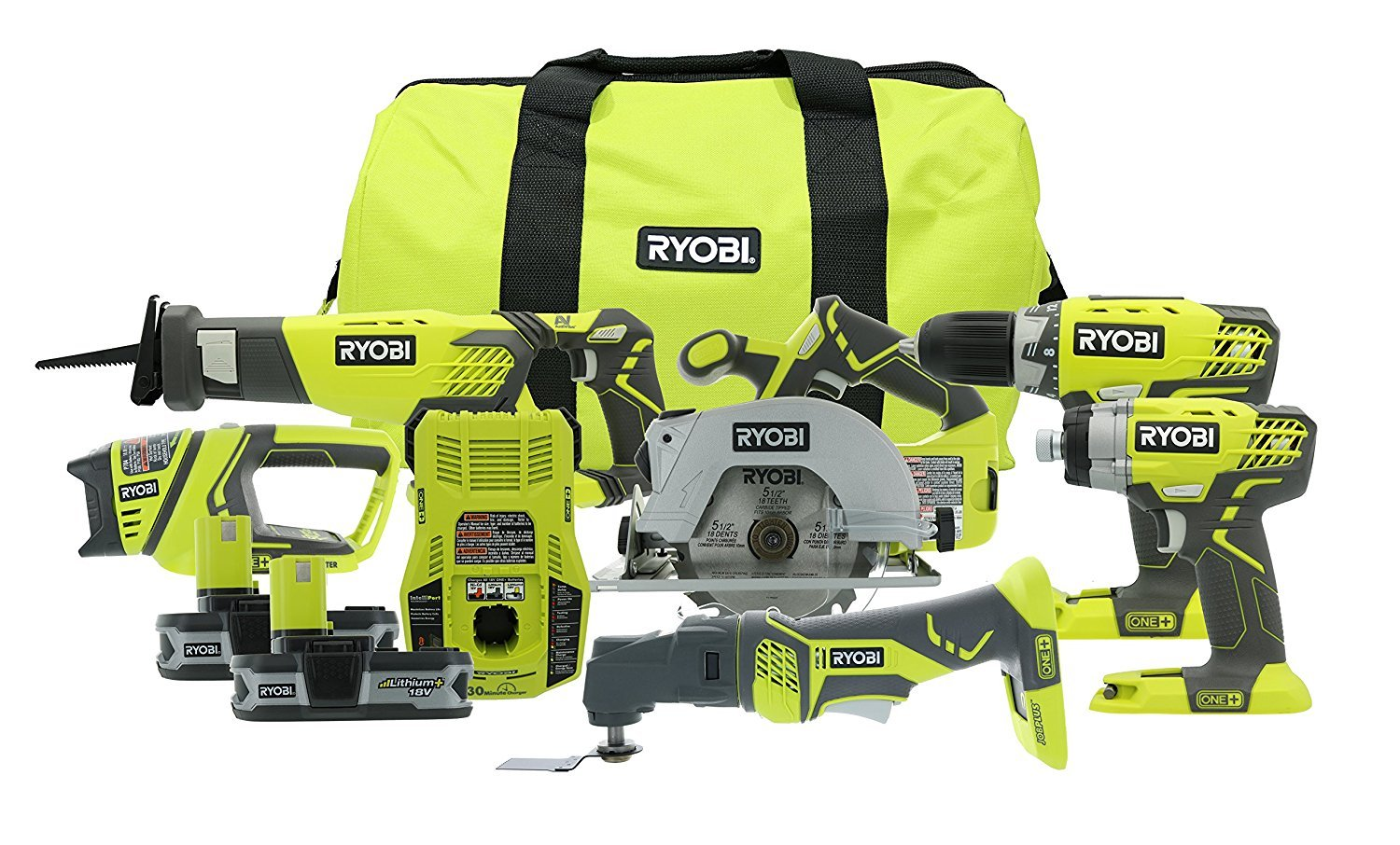 Amazon com: Ryobi P884 18-Volt ONE+ Lithium-Ion Combo Kit (6
